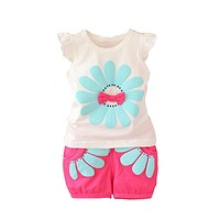 Infant clothes toddler children summer baby girls clothing sets casual 2 PCs flower clothes sets girls summer set