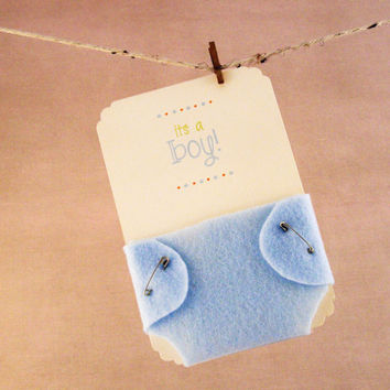 Boy Baby Shower Invitations Blue Diaper - Felt and Cardstock