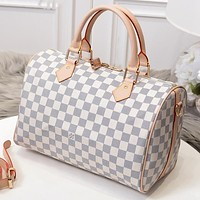 LV Louis Vuitton hot sale ladies printed letters small duffel bag shopping shoulder bag White