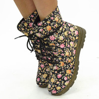 Pretty & Armed Floral Combat Boots Black