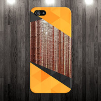 Orange Redwood Forest x Geometric Triangles Phone Case for iPhone 6 6 Plus iPhone 5 5s 5c 4 4s Samsung Galaxy s6 s5 s4 & s3 and Note 5 4 3 2