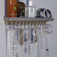 Wall Necklace Holder Organizer Closet Jewelry Storage Rack - Angelynn's Jewelry Organizers (Schelon Satin Nickel Silver)