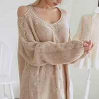 Warm Beige Off The Shoulder Chunky Knitted Oversize Sweater from Letsglamup