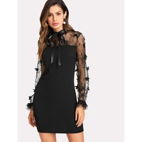 Ribbons And Lace Baby Dress - Black