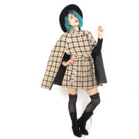 60s Mod Wool Cape Belted Winter Coat Checkered Cape Sherlock Holmes Classic Detective Capelet (S/M)