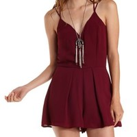 Wine Strappy Plunging Chiffon Romper by Charlotte Russe