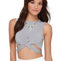 Gray Sleeveless Knot Cropped Top