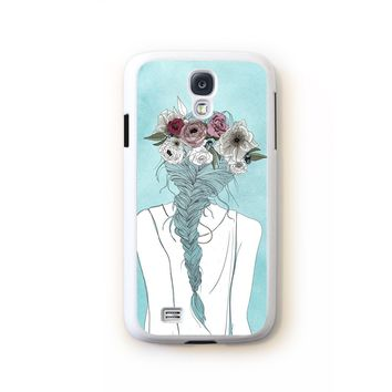Flower crown girl illustration on blue for Galaxy S4