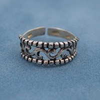 Tribal Toe Ring Sterling Silver Stamped 925 Wave Swirl Surf Toe Ring Adjustable Toering