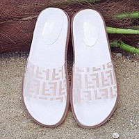 FENDI Summer Newest Popular Women Casual Thick Sole Transparent Jelly Flat Sandal Slippers Shoes Pink