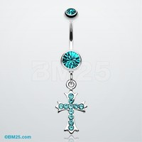 Cross Sparkle Dangle Belly Button Ring