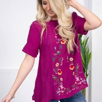 Yaretzi Floral Embroidered Top | Purple