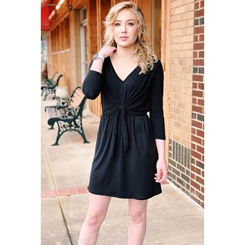 Faux Wrap & Tie Front Suedette Dress {Black}