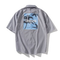 Converse sells casual men's and women's shirts fashionable feelings coconut tree printing pure cotton breathable loose hip-hop couple short-sleeved shirts