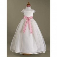 Ball Gown Square Floor-length Satin Organza Flower Girl Dress (HSX452) - Flower Girl Dresses - Wedding Party Dresses