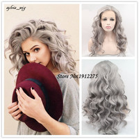 Heat Resistant Fiber Hair granny gray Body Wave Hair Wigs Synthetic Lace Front Wig For white Women Drag Queen Hair replace Wig