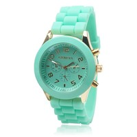 ZLYC Summer Silicone Sports Strap Watch for Women Colored Mint Green