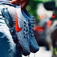 NIKE Air Vapormax Flying Fashion Women Men Casual Sport Shoe Sneakers Grey(Red Hook) I
