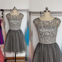 Charcoal Grey Beaded Tulle Prom Dress, Short V-back Prom Dresses, Cheap Formal Dress Homecoming Dress Cocktail Dress 2015