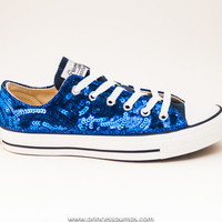 Royal Blue Sequin Curl Pattern Canvas  Lo Top Sneakers Shoes