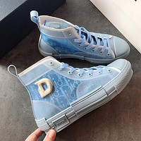 Dior Translucent film splicing high top shoes