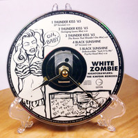 CD Clock, Desk Clock, Wall Clock, White Zombie, Recycled Music Compact Disc, Upcycle, Battery, Wall Hanger & Stand ALL INCLUDED