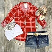 Penny Plaid Flannel Top: Red