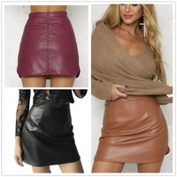 2017 three-color plus cashmere comfortable PU package hip skirt spring and autumn skirt [10577433868]