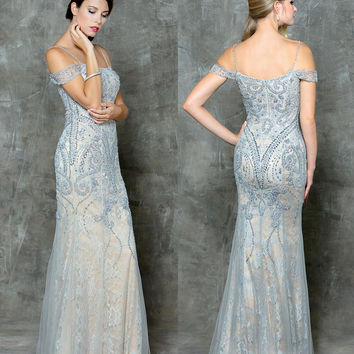 GLOW G730 Beaded Lace Mesh Prom Evening Dress