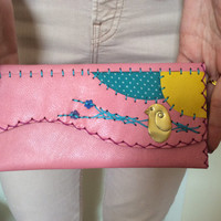Handmade cow leather purse, hand stitches, pink