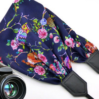 InTePro owls scarf camera strap. Black DSLR / SLR Camera Strap. Colorful camera strap with flowers and birds.