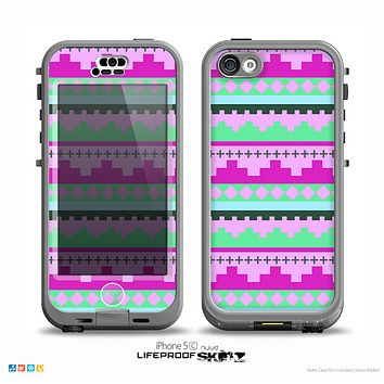 The Lime Green & Purple Tribal Ethic Geometric Pattern Skin for the iPhone 5c nüüd LifeProof Case