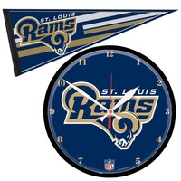 St. Louis Rams NFL Round Wall Clock and Pennant Gift Set