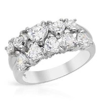 NEW HEART SHAPED WHITE GOLD TONE SILVER RING SIZE 7