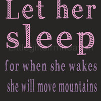 Chalkboard Let her sleep- chalkboard baby, let her sleep print, chalkboard baby room, let her sleep sign, will move mountains