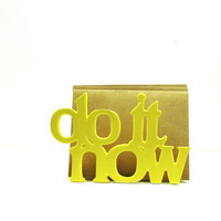 do it now letter holder, office, desk accessories, organizer, typography, words, home office, yellow decor, retro, vintage, upcycled