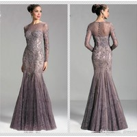 Lace Mermaid Long Sleeve Applique Crew Evening Dresses Formal Party Prom Gowns