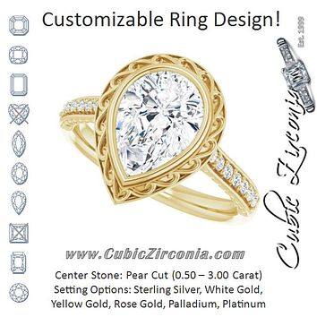 Cubic Zirconia Engagement Ring- The Itzayana (Customizable Cathedral-Bezel Pear Cut Design featuring Accented Band with Filigree Inlay)