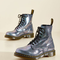 March Through Manhattan Leather Boot in Metal Crackle