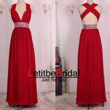 2015 New Fashion Cheap V neck Sexy Burgundy Wine Red Chiffon Long Prom Dresses Gown/Evening Dress Gown/Party Dress/Homecoming Dress/Custom