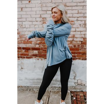 Staying Simple Top - Slate Blue