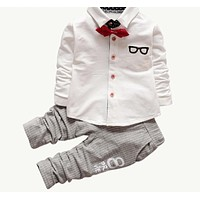 Baby Clothing Sets Kids Clothes Baby Sets Kids Long Sleeve Sports Suits Bow Tie T-shirts + Pants Boys Clothes