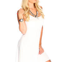 Sexy White Spaghetti Strap Uneven Hemline Casual Summer Dress
