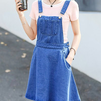 Blue Denim Front Pocket Pinafore Dress