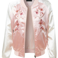 LE3NO Womens Lightweight Satin Floral Embroidery Zip Up Bomber Jacket (CLEARANCE)