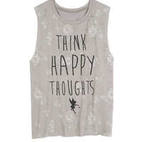 Think Happy Thoughts Tank - Grey