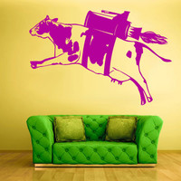 Wall Vinyl Sticker Decals Decor Art Bedroom Design Mural Modern Design Cow Milk Funny Rocket Turbo Fly (z588)