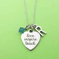 Personalized, Birthstone, Letter, Initial, Love, Inspire, Teach, Heart, Silver, Necklace, Alphabet, Birth, Stone, Gift, Jewelry