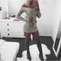 Gray Off Shoulder Long Sleeve Bodycon Dress with Sash