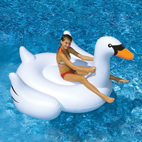 Good Quality White Summer Lake Swimming Lounge Pool Kid Giant Rideable Swan Inflatable Float Toy Raft Ocean Floating